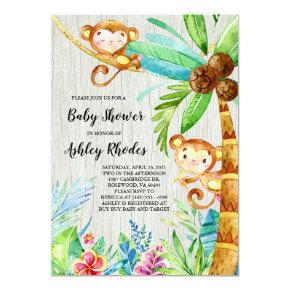 Tropical Rain Forest Monkey Baby Shower Invitation