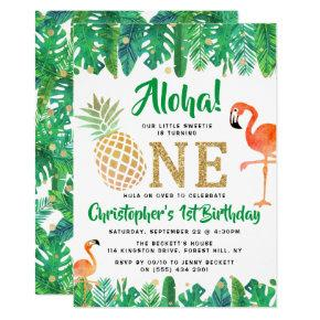 Tropical Summer Beach Luau Boys 1st Birthday Invitation