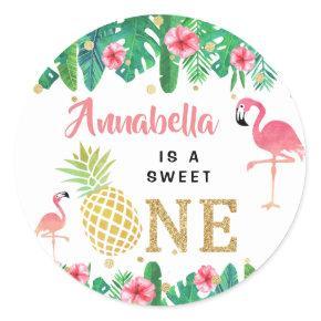 Tropical Summer Beach Luau Girls 1st Birthday Classic Round Sticker