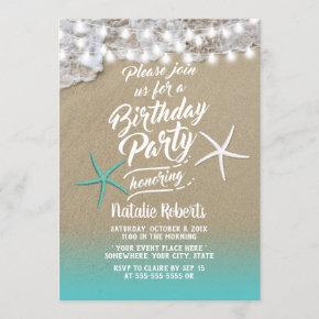 Tropical Summer Beach Starfish Birthday Party Invitation
