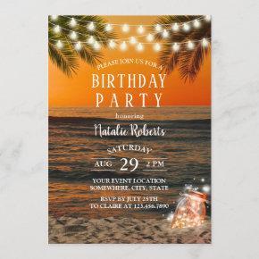 Tropical Summer Sunset Beach Mason Jar Birthday Invitation