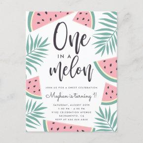 Tropical Summer Watermelon One In A Melon Birthday Invitation Post