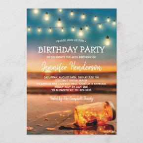 Tropical Sunset Beach Birthday Party Invitation