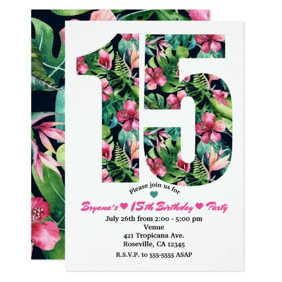 Tropical Sweet 15 15th Birthday Party Invitations Candied Clouds