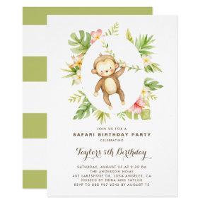 Tropical Watercolor Monkey Safari Kids Birthday Invitation