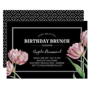 Tulip Flower Birthday Brunch Black Invitation