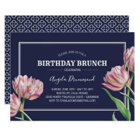 Tulip Flower Birthday Brunch Blue Invitation