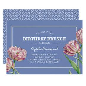 Tulip Flower Birthday Brunch Violet Invitation