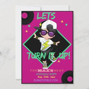 Turn up Birthday Party Invitation  For Boy