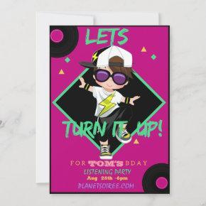 Turn up Birthday Party Invitation  For Boy 1