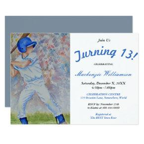 TURNING 13 BASEBALL PARTY Invitations