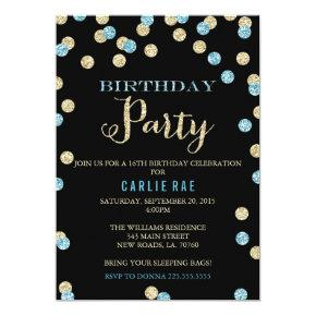 Turquoise and Gold Glitter Birthday Invitations