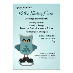 Turquoise Owl Skating Party Invitations