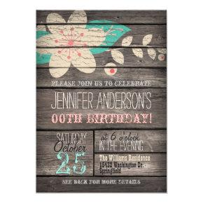 Turquoise, Pink Flower, Rustic Adult Teen Birthday Invitation