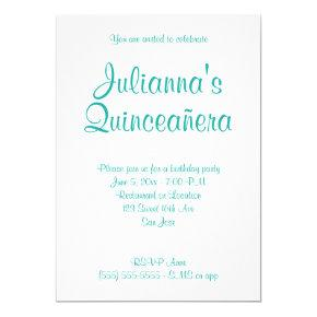 Turquoise Quinceañera Calligraphy Birthday Invitation