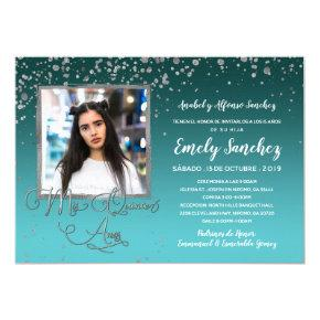 Turquoise Silver Mis Quince Anos Photo Spanish Invitation