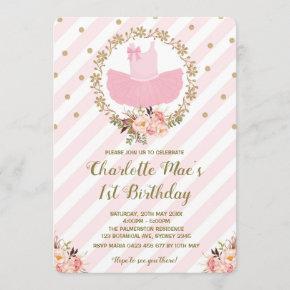 Tutu Ballerina Ballet Birthday Invite Pink & Gold