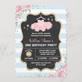 Tutu Ballerina Blue Pink Gold Birthday Invite