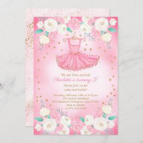 Tutu Ballerina Dress Glitter Birthday Invitation