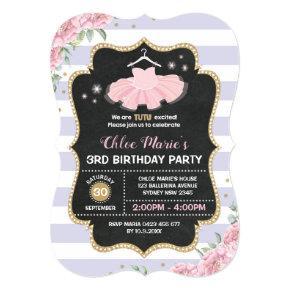 Tutu Ballerina Purple Gold Floral Birthday Invite
