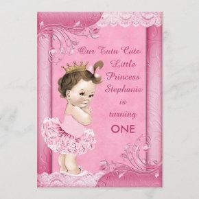 Tutu Cute Brunette Princess 1st Birthday Faux Lace Invitation