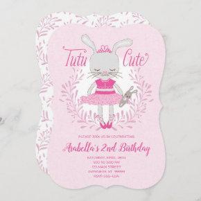 Tutu Cute Bunny Birthday Invitation