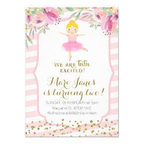 tutu pink girl birthday invitation