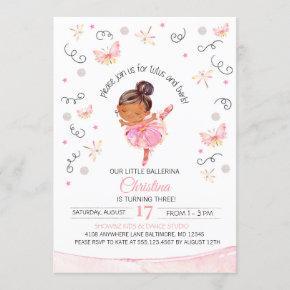 Tutu's and Twirls Ballerina Birthday Invitation
