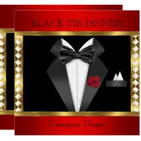 Tuxedo Red Gold Black Tie Formal Party Invitation