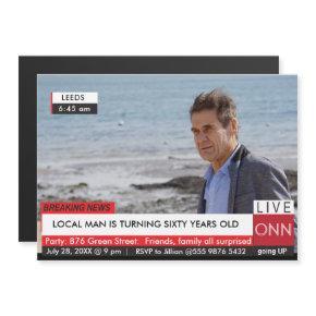 TV News Mens Funny Birthday Magnetic Invitation