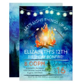 Tween Bonfire Birthday Party Invitation