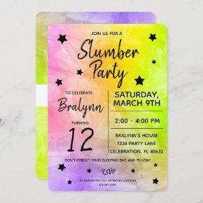 Tween Girl Birthday Slumber Party Watercolor Invitation