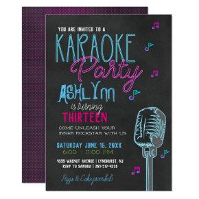 Tween/Teen Karaoke Birthday Party Invitation