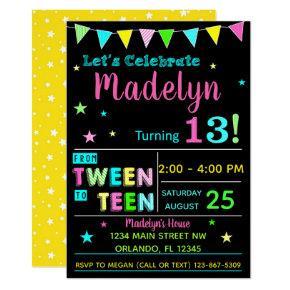 Tween to Teen 13th Birthday Invitations I Teenager