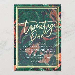 Twenty One 21st Birthday Party Tropical Flowers Invitation