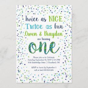 Twice as Nice Confetti Twin Boys First Birthday Invitation