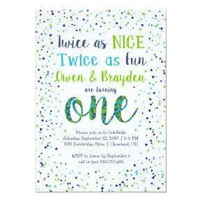 Twice as Nice Confetti Twin Boys First Birthday Invitation