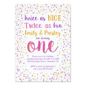 Twice as Nice Confetti Twin Girls First Birthday Invitation