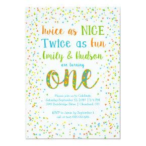 Twice as Nice Confetti Twins First Birthday Invitation