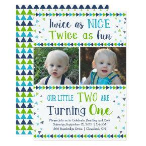 Twice as Nice Twin Boy First Birthday Invitations