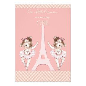 Twin Ballerinas Eiffel Tower Chevrons 1st Birthday Invitation