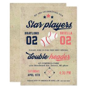 Twin Baseball Birthday Invitation Boy Girl