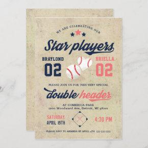 Twin Baseball Birthday Invitation Boy Girl