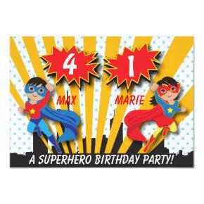 Twin Boy Girl Superhero Birthday Card