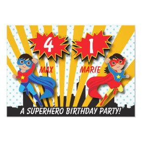 Twin Boy Girl Superhero Birthday Invitations