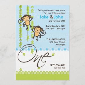 Twin Boys First Birthday Invitation