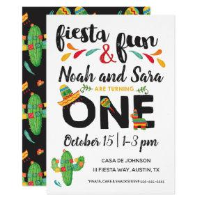 Twin Fiesta First Birthday Invitation