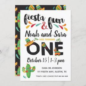 Twin Fiesta First Birthday Invitation