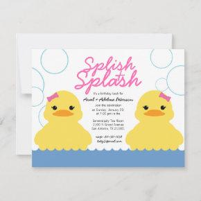 twin girl ANY AGE rubber DUCKY BIRTHDAY party Invitation