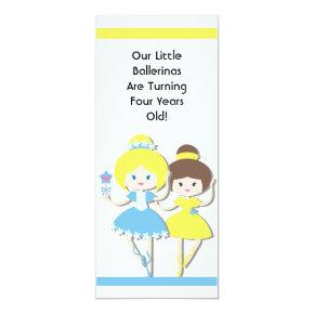 Twin Girl Ballerina Custom Birthday Invitation